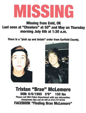 "Photo - Tristan ""Brae"" McLemore, 17, of Enid was last seen July 6 around 1:30 a.m. Photo provided."