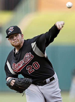 Photo - Brett Anderson of the Sacramento River Cats pitches against the Oklahoma City RedHawks during a baseball game at  Chickasaw Bricktown Ballpark in Oklahoma City, Friday, August 10, 2012. Photo by Bryan Terry, The Oklahoman