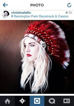 "Photo - This photo posted to Christina Fallin's Instragram account shows Fallin, the daughter of Oklahoma Gov. Mary Fallin, wearing a Native American headdress. Christina Fallin is defending herself after she posted the photo on social media sites. In a statement to The Associated Press, she says that with age, she feels a ""deeper and deeper connection to the Native American culture."" (AP Photo)"