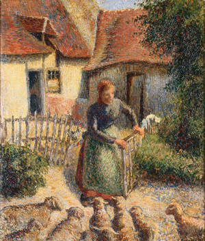 """Photo -  """"Shepherdess Bringing In Sheep,"""" a painting by French impressionist artist Camille Pissarro, was seized as part of the personal collection of Raoul Meyer, a Jewish businessman in Paris, during the Nazi occupation of France. The painting hangs in the University of Oklahoma's Fred Jones Jr. Museum of Art. Image provided  <strong></strong>"""