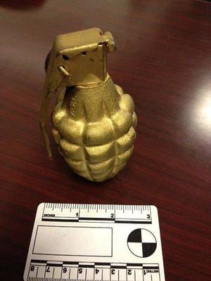 An inert grenade found in the carry-on bag of Wayne Coyne at the Oklahoma City airport.  Photo provided by the TSA