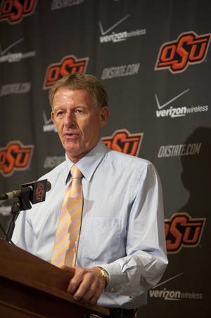 Photo - OSU athletics director Mike Holder, shown here in a 2010 photo, talked about an upcoming piece by Sports Illustrated's investigative team on Monday. OKLAHOMAN ARCHIVE PHOTO