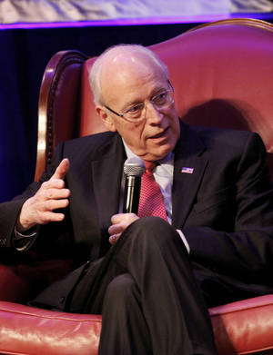 "Photo - Former Vice President Dick Cheney was keynote speaker during an event sponsored by  Integris Advanced Cardiac  Carer Saturday afternoon, May 5, 2012, in the Cox Convention Center. Chaney, who has a long history of heart disease,  led a casual and informal discussion labeled as a fireside chat as part of the Advanced Cardiac Care heart failure symposium.  The program was free and open to the public.  Dr. Doug Horstmanshof,  program co-director, said the symposium features the latest in heart failure therapies for physicians attending the event, but added, "" we think it's equally important to honor our patients who have been given a second chance at life as well.""  Earlier this year, Cheney was the recipient of a heart transplant.  Sharing the stage with Cheney were Susan Ford, daughter of former President Gerald Ford, Dr, James Long, director of the Nazih Zuhdi Transplant Institute at Integris, and Dr. Horstmanshof.   Photo by Jim Beckel, The Oklahoman"
