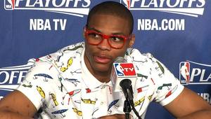 photo - Thunder guard Russell Westbrook speaks with the media following Game 1 of the Western Conference Semifinals against the Los Angeles Lakers on May 14, 2012. Photo by Damon Fontenot/The Oklahoman