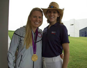 photo - Olympic medalists Esther Lofgren, left, and Caryn Davies visted the Head of the Oklahoma Regatta to sign autographs. PHOTO PROVIDED