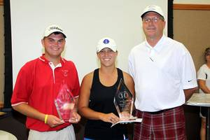 Photo - Ardmore's Jacob Oaks, left, and Shawnee's Kurstyn Mills are pictured with Oklahoma Golf Coaches Association president Garrett Mantle after receiving the Kyle Lewis Memorial Scholarship. Photo provided