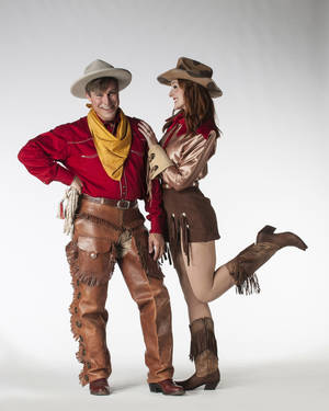 "Photo - Tom Huston Orr as Will Rogers and Erin Bowman as Ziegfeld's Favorite in ""The Will Rogers Follies""   Photo by Keith Rinearson <strong></strong>"