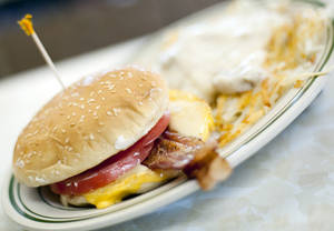Photo -  A breakfast sandwich is served at the Triple XXX restaurant in West Lafayette, Ind.  AP Photo  <strong>Brent Drinkut -  AP </strong>