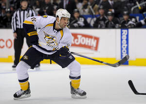 Photo - Nashville Predators center David Legwand reacts after scoring during the first period of their NHL hockey game against Los Angeles Kings, Saturday, Nov. 2, 2013, in Los Angeles. (AP Photo/Gus Ruelas)