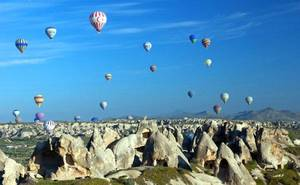 Photo - Soaring over Cappadocia in a hot-air balloon gives an unforgettable perspective on the region's landscape of spires.   Photo by Dominic Bonuccelli <strong>dominic arizona bonuccelli / azfoto.com</strong>