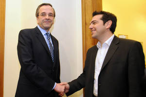 Photo -   Greek leader of Coalition of the Radical Left party, SYRIZA, Alexis Tsipras, right, and leader of the Conservative Party of 'New Democracy' Antonis Samaras smile as they shake hands before their meeting at the Greek Parliament in Athens, Wednesday, May 9, 2012. Greece's commitment to austerity is no longer valid because voters have rejected those deals, a left-wing party leader declared Tuesday as he tried to form a new coalition government. (AP Photo/Evi Fylaktou)