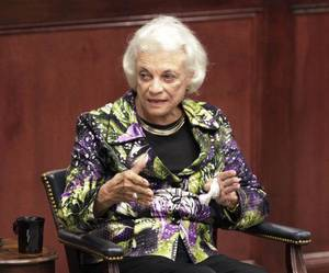 Photo - Retired Supreme Court Justice Sandra Day O'Connor speaks to students, faculty and staff at Oklahoma City University's Law School on Thursday. PHOTO BY DAVID MCDANIEL, THE OKLAHOMAN <strong>David McDaniel - The Oklahoman</strong>