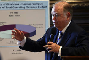Photo - OU's  President David Boren speaks about funding at the University of Oklahoma on Tuesday.  Photo by Steve Sisney, The Oklahoman <strong>STEVE SISNEY</strong>