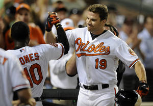 Photo -   Baltimore Orioles' Chris Davis (19) celebrates his home run with Adam Jones, left, during the eighth inning of a baseball game against the New York Yankees on Thursday, Sept. 6, 2012, in Baltimore. The Orioles won 10-6. (AP Photo/Nick Wass)