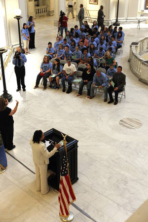 "Photo - Rep. Anastasia Pittman, D-Oklahoma City, speaks during the ""Stand for the Silent""  annual rally against bullying Monday in the rotunda at the state Capitol. Photo by Paul B. Southerland, The Oklahoman <strong>PAUL B. SOUTHERLAND - PAUL B. SOUTHERLAND</strong>"
