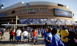 Photo - Fans gather in Thunder Alley before Game 5 in the second round of the NBA playoffs between the Oklahoma City Thunder and the L.A. Lakers on May 21 at Chesapeake Energy Arena. PHOTO BY BRYAN TERRY, THE OKLAHOMAN