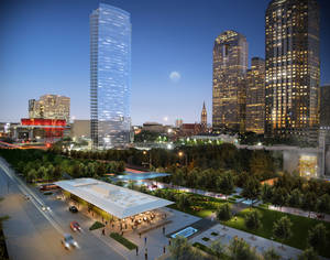 Photo - A rendering of the Klyde Warren park in downtown Dallas. The unique urban park, built on top of a submerged freeway, opens this weekend.   Photo provided    <strong></strong>