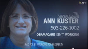 Photo - This undated framegrab image from video provided by Americans for Prosperity, shows a political ad against Rep. Ann McLane Kuster, D-N.H. stating the Affordable Care Act is not working. A new analysis finds the nation's health care overhaul deserves a place in advertising history as the focus of extraordinarily high spending on negative political TV ads that have gone largely unanswered by the law's supporters. The report, released Friday by nonpartisan analysts Kantar Media CMAG, estimates $445 million was spent on political TV ads mentioning the law since the enactment of the Affordable Care Act in 2010. Spending on negative ads outpaced positive ones by more than 15 to 1. (AP Photo/Americans for Prosperity)
