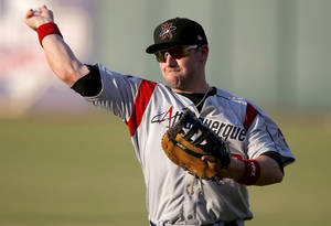 Photo - Former Oklahoma State quarterback Josh Fields is playing baseball for the Triple-A Albuquerque Isotopes.Photo by Bryan Terry, The Oklahoman