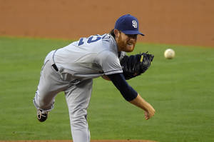 Photo - San Diego Padres starting pitcher Ian Kennedy throws to the plate during the second inning of a baseball game against the Los Angeles Dodgers, Saturday, July 12, 2014, in Los Angeles. (AP Photo/Mark J. Terrill)