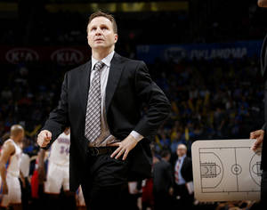Photo - Scott Brooks' teams have had some of the NBA's best offenses over the past three seasons, but it's going to be tough to maintain that level of production this year. Photo by Bryan Terry, The Oklahoman Archives