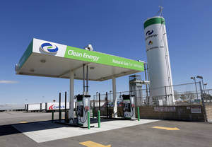 Photo -  This is Clean Energy's new liquefied natural gas fueling station at the Flying J at Interstate 40 and Morgan Road. Photo By Steve Gooch, The Oklahoman  <strong>Steve Gooch -   </strong>