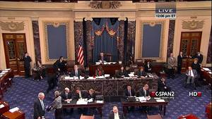 photo - This handout video image provided by CSPAN2 shows former Senate Majority Leader Bob Dole, right, wheeled into the Senate Chamber on Capitol Hill in Washington, Tuesday, Dec. 4,2012, by his wife Elizabeth Dole. Frail and in a wheelchair, Dole was a startling presence on the Senate floor as lawmakers voted on a treaty on disabilities. The 89-year-old Republican was in the well of the Senate on the GOP side of the chamber, his wife Elizabeth nearby. Dole recently had been hospitalized but came to the Senate to push for the treaty.  (AP Photo/CSPAN2)