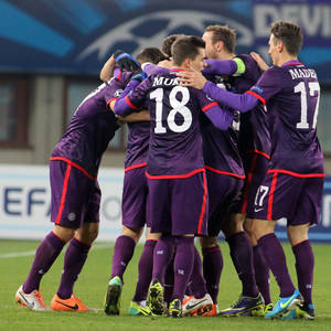 Photo - Austria's players react after a goal during the Champions League Group G soccer match between Austria Vienna and Zenit St. Petersburg in Vienna, Austria, Wednesday, Dec. 11, 2013. (AP Photo/Ronald Zak)