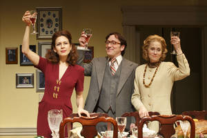 "Photo - This theater publicity image released by Boneau/Bryan-Brown shows Jessica Hecht, from left, Jeremy Shamos and Judith Light in a scene from ""The Assembled Parties, playing at the Samuel J. Friedman Theatre in New York. (AP Photo/Boneau/Bryan-Brown, Joan Marcus)"