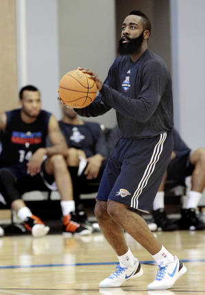 photo - James Harden shoots during practice at the Oklahoma City Thunder practice facility on Friday, April 27, 2012, in Oklahoma City, Okla.  Photo by Steve Sisney, The Oklahoman