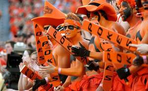 photo - OSU fans during the college football game between Texas A&amp;M University and Oklahoma State University (OSU) at Boone Pickens Stadium in Stillwater, Okla., Thursday, Sept. 30, 2010. Photo by Bryan Terry, The Oklahoman 