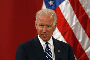 Vice President Joe Biden speaks at La Moneda Palace in Santiago, Chile, Monday, March 10, 2014. Biden is in Chile to attend Tuesday's swearing-in of Michelle Bachelet as Chile's president. (AP Photo/Luis Hidalgo)