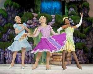 From left, Cinderella, Rapunzel and Princess Tiana star in &quot; Disney On Ice presents Dare to Dream,&quot; playing at the 2012 Oklahoma State Fair. PHOTO PROVIDED