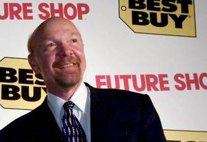 Photo -   FILE - This Tuesday, Aug. 14, 2001 file photo shows Richard Schulze following a news conference in Vancouver, British Columbia. Best Buy founder Schulze said Monday, Aug. 6, 2012, that he wants to take the electronics retailer private by buying up all of its shares he doesn't already own in a deal that values the company at as much as $8.84 billion. (AP Photo/The Canadian Press, Chuck Stoody, File)