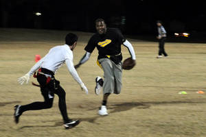 Photo - Kevin Durant plays in an intramural flag football game with Sigma Nu fraternity at Oklahoma State University, Oct. 31, 2011. Photo submitted by S. Burner.