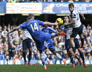 Photo - Chelsea's Andre Schurrle shoots the ball during an English Premier League soccer match against Everton at the Stamford Bridge ground in London, Saturday, Feb. 22, 2014. Chelsea won the match 1-0. (AP Photo/Lefteris Pitarakis)