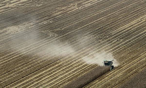 photo - FILE - In this Aug. 16, 2012 file photo, dust is carried by the wind behind a combine harvesting corn in a field near Coy, Ark. A brutal combination of a widespread drought and a mostly absent winter pushed the average annual U.S. temperature last year up to 55.32 degrees Fahrenheit, the government announced Tuesday, Jan. 8, 2013. Breaking temperature records by an entire degree is unprecedented, scientists say. Normally, records are broken by a tenth of a degree or so. (AP Photo/Danny Johnston, File)