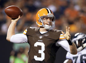 photo - Cleveland rookie QB Brandon Weeden sees reasons for optimism. AP Photo