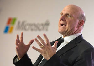 Photo - epa03834543 (FILE) A file photograph dated 08 November 2012 shows Steve Ballmer, CEO of Microsoft, talking during the unveiling of the project 'Schlaumaeuse' (Clever Mice) in Berlin, Germany. Microsoft on 23 August 2013 announced that Ballmer plans to retire from his office within the next 12 months.  EPA/MICHAEL KAPPELER *** Local Caption *** 50588709 ** Usable by LA Only **