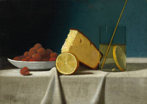 "Photo - This image provided by the National Gallery of Art shows John Frederick Peto's ""Still Life with Cake, Lemon, Strawberries and Glass"" that has been transferred to the National Gallery of Art from the estate of Paul Mellon. Paintings, sculptures and other works are among 110 objects bequeathed to the museum from the estate of museum benefactor Mellon after his death in 1999. They remained in the care of his widow, Rachel ""Bunny: Mellon, at their Virginia home until her death in March. (AP Photo/National Gallery of Art)"