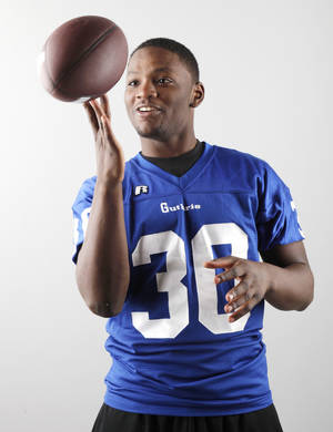 photo - HIGH SCHOOL FOOTBALL: Oklahoman Big All-City and All-State defensive player of the year Kentrell Brothers, Guthrie , Dec. 22, 2010. Photo by Doug Hoke, The Oklahoman. ORG XMIT: KOD
