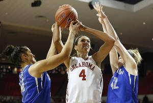 Photo - Oklahoma's Nicole Griffin (4) takes a shot against Creighton's Alexis Akin-Otiko (45) and Sarah Nelson (42) during the first half of an NCAA college basketball game in Norman, Okla., Sunday, Dec. 1, 2013. (AP Photo/Garett Ray Fisbeck)
