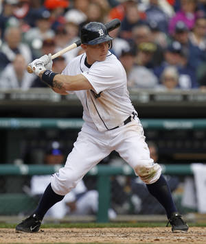 photo -   In this Saturday, April 21, 2012 photo, Detroit Tigers' Brandon Inge bats against the Texas Rangers in a baseball game in Detroit. The Detroit Tigers released the slumping Inge on Thursday, April 26. (AP Photo/Paul Sancya)