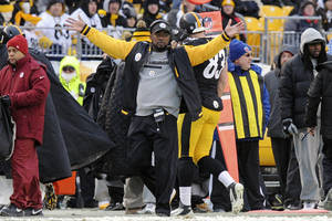 Photo - Pittsburgh Steelers head coach Mike Tomlin questions an official during the second half of an NFL football game against the Miami Dolphins in Pittsburgh, Sunday, Dec. 8, 2013. The Dolphins won 34-28. (AP Photo/Don Wright)