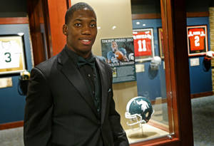 Photo - Jim Thorpe Award winner Michigan State's Darqueze Dennard poses for a photo inside the Oklahoma Sports Hall of Fame in Oklahoma City, Feb., 4, 2014. Photo by Bryan Terry, The Oklahoman