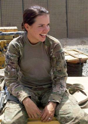 Photo - Spc. Alyssa Rainville is on the personal security detail for the 45th Infantry Brigade Combat Team commander in Afghanistan.  PHOTO PROVIDED