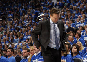 photo - Thunder head coach Scott Brooks reacts during game 3 of the Western Conference Finals of the NBA basketball playoffs between the Dallas Mavericks and the Oklahoma City Thunder at the OKC Arena in downtown Oklahoma City, Saturday, May 21, 2011. Photo by Sarah Phipps, The Oklahoman