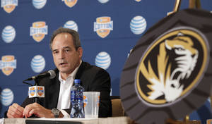 Photo - Missouri head football coach Gary Pinkel speaks to the media during an NCAA college football news conference, Thursday, Jan. 2, 2014, in Irving, Texas. Missouri will play Oklahoma State in the Cotton Bowl on Friday in Arlington, Texas. (AP Photo/Brandon Wade)