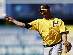 Photo - Pittsburgh Pirates shortstop Ivan De Jesus throws to first base to get out Minnesota Twins' James Beresford off a hit in the ninth inning of a spring training exhibition baseball game, Sunday, March 10, 2013, in Fort Myers, Fla. Pittsburgh won 7-4. (AP Photo/David Goldman)