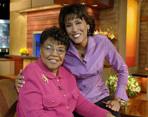 "Photo -   This 2006 photo released by ABC shows ""Good Morning America"" co-host Robin Roberts, right, with her mother Lucimarian Roberts on the set in New York. Jeffrey W. Schneider, senior vice president of ABC News, said 88-year-old Lucimarian Roberts died Thursday, Aug. 30, 2012. ABC's Facebook page said Robins traveled ""home to Mississippi just in time to see her."" The death came on the same day Roberts said goodbye to her co-workers and audience before starting medical leave for a bone marrow transplant. Her departure had been set for Friday. But in a last-minute change of plans she told her viewers she was leaving a day early to visit her ailing mother. WABC-TV said Lucimarian Roberts was the first African-American to head Mississippi's board of education. She also collaborated with her daughter on a book titled, ""My Story, My Song: Mother-Daughter Reflections on Life and Faith."" (AP Photo/ABC, Donna Svennevik)"